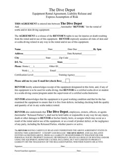 Equipment available the dive depot for Equipment hire form template